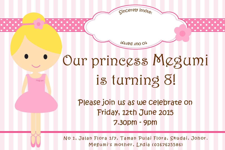 Megumi Birthdays Invitation Card