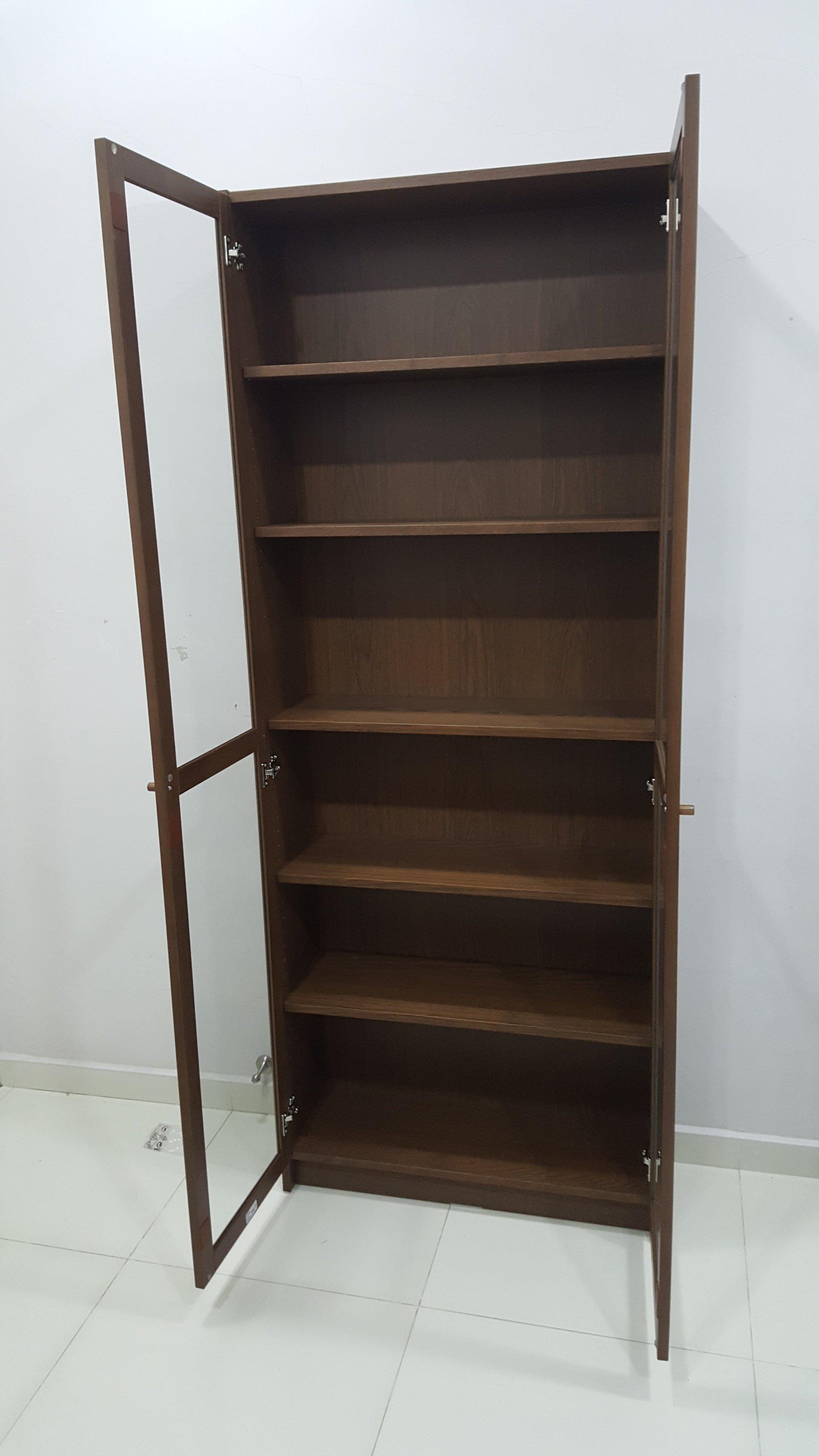ikea billy oxberg bookcase cupboard with glass door dr koh kho king. Black Bedroom Furniture Sets. Home Design Ideas