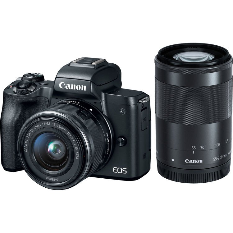 [Promo] Canon EOS M50 Mirrorless Digital Camera with 15-45mm and 55-200mm Lenses (Black) (Free 32GB Memory Card + Camera Bag) (Canon Malaysia) (1+2 Years Warranty)