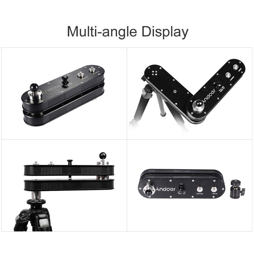 andoer camera slider rail track dolly with panning and linear motion