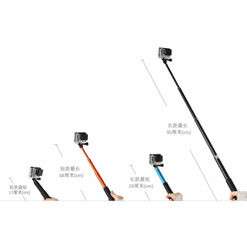 ducame hpro long extender monopole with cell phone clip for smartphones and for gopro hero 2