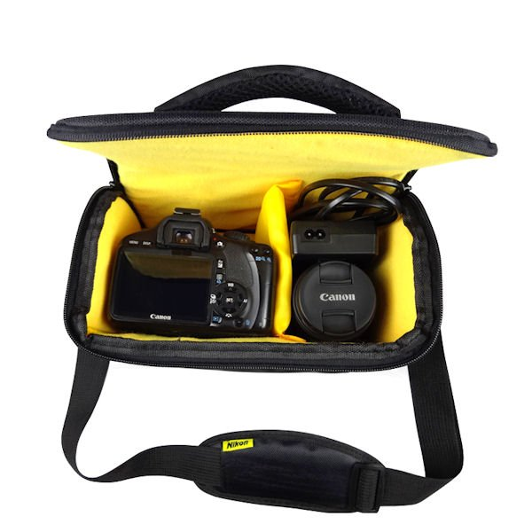 Ducame Shoulder Camera Bag For D7200 D7100 D7000 D3200 D5200 D3100 D90 Nikon Slr Black Yellow