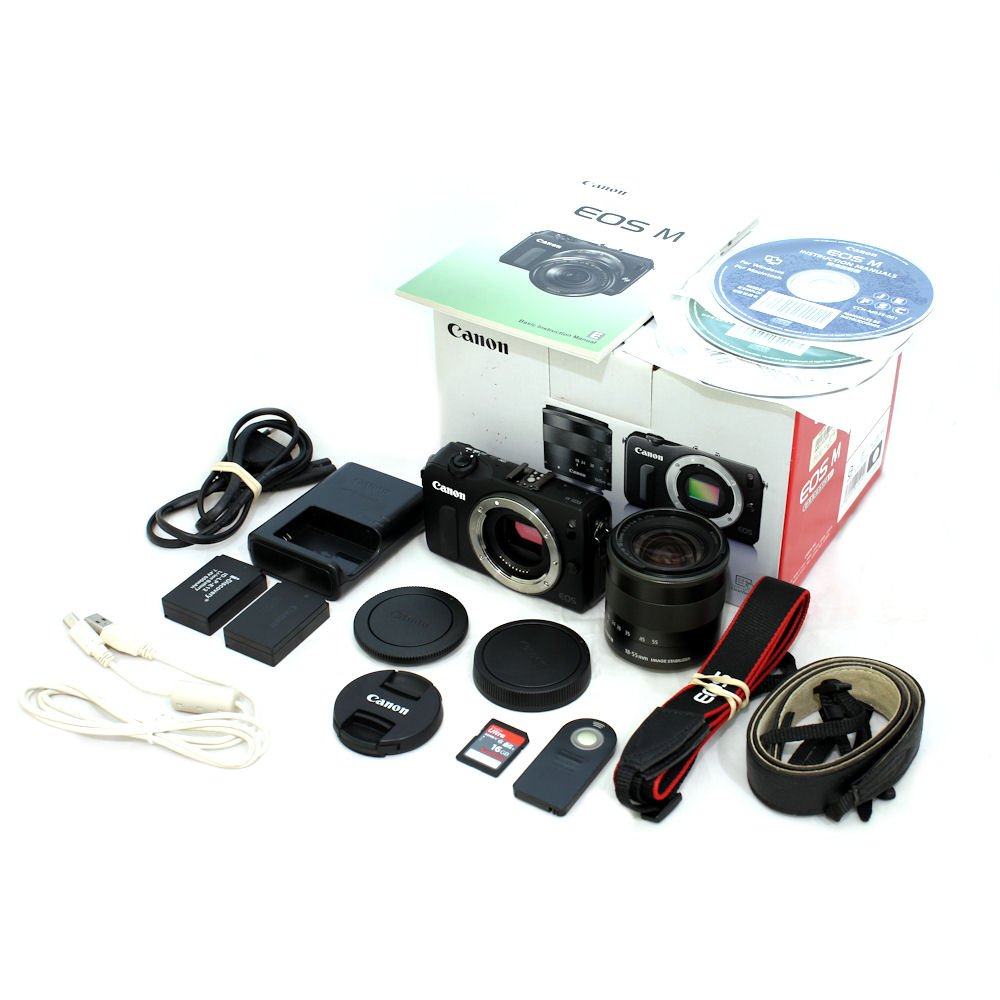 Used Canon Eos M Digital Camera With Ef 18 55mm F 35 56 Is Stm Lens Cap 3rd Sandisk 16gb Sd Card S N 026192213570 Near New In Box