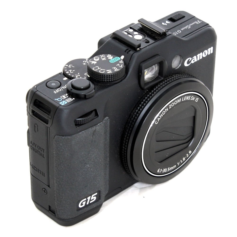 used canon powershot g15 digital camera with leather case s n 431638146450 near new. Black Bedroom Furniture Sets. Home Design Ideas