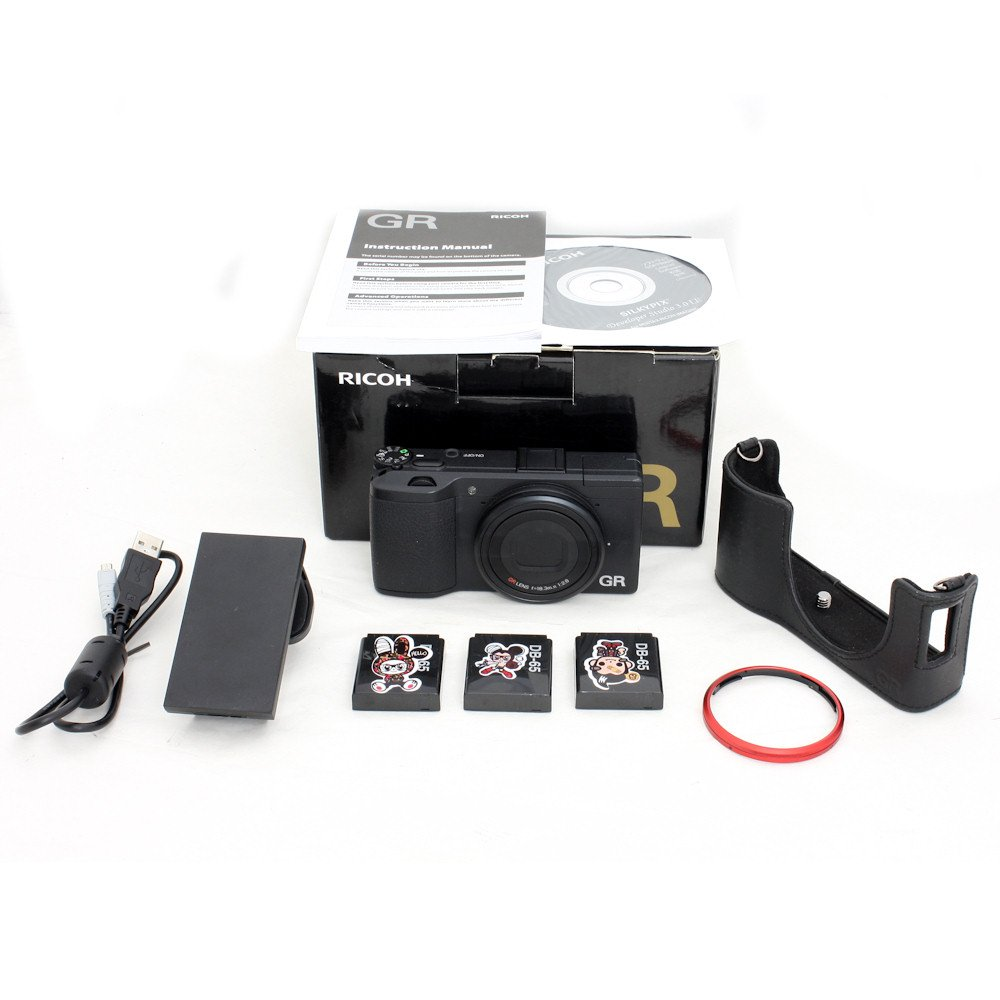 USED] Ricoh GR Digital Camera with 3 Batteries + Half-Case (S/N