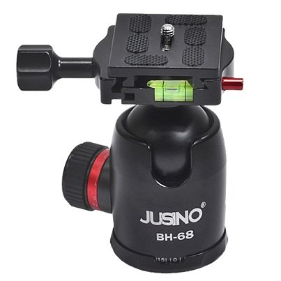 Jusino BH-68 Professional Heavy Duty Ballhead with Arca Swiss Style Quick Release System (QR Plate Included) (Black) (Max Load 15kg)