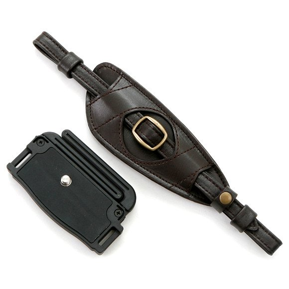 """Matin Hand Grip """"CREPIS"""" (Dark Brown) with Self-Standing Stand! (Genuine Cow Leather, Made in Korea!)"""
